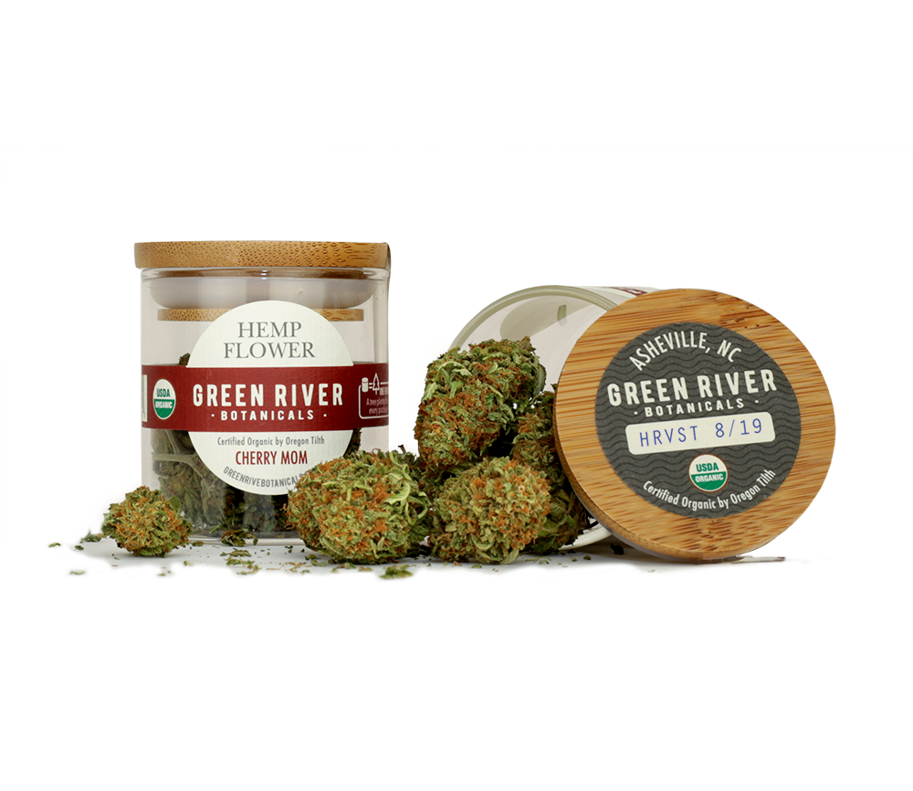 Green River Botanicals organically grown Cherry Mom hemp flower